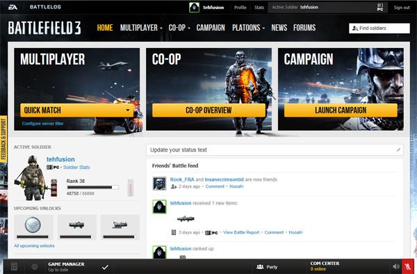 Игровой онлайн сервис Battlelog